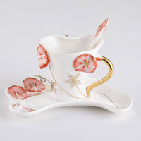 3pcs Set Porcelain Enamel Colorful Morning Glory Cup Birthday Wedding Gift With Spoon Tray High Temperature