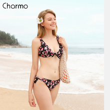 Charmo Bikini Women Swimsuit Print Bikini Swimsuit Graceful Floral Bikini Sexy Swimwear Strappy Bikini Sets Beachwear pair of graceful floral circle anklets for women