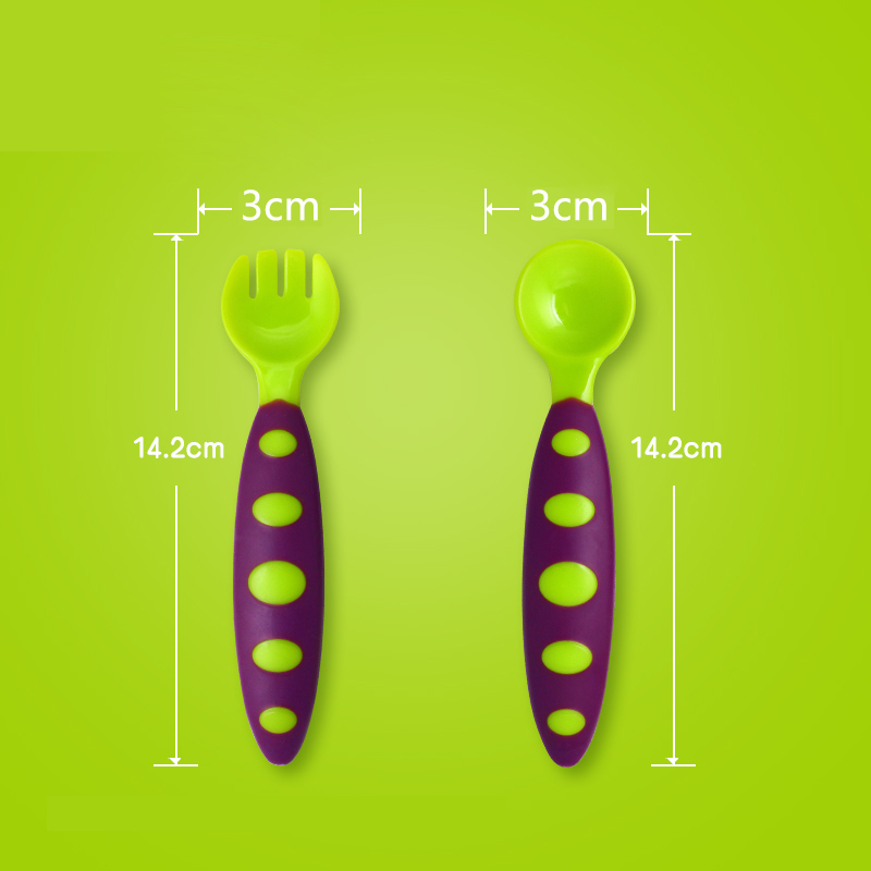 1 Set Baby Spoon And Fork Children Dishes Baby Spoon Childrens Tableware Tableware For Children Cutlery Latex Spoons Silicone