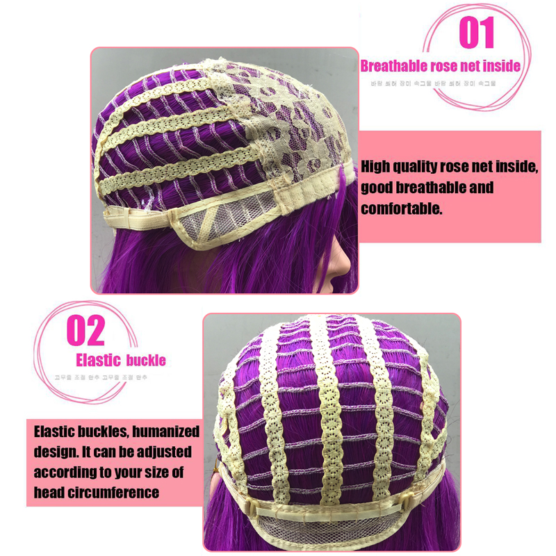 Image 5 - Yiyaobess 70cm Long Wavy Purple Wig Cosplay Synthetic Pink Green Natural Hair Wigs For Women High Temperature Fiber 28 ColorsSynthetic None-Lace  Wigs   -
