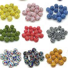 8 мм, 100 шт./лот, хит, смешанные бусины, браслет, Новое поступление, ожерелье, стразы, диско-шар, разделитель, кристалл