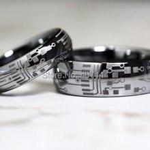 YGK ювелирные изделия горячая Распродажа 6 мм/8 мм Серебряный купол печатная плата Мужская мода карбид вольфрама обручальное кольцо