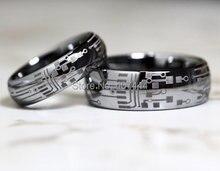 Envío gratis ygk joyería de las ventas calientes 6mm/8mm circuit board para hombre de la moda de plata dome tungsten carburo de boda anillo
