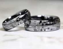 Gratis Verzending YGK SIERADEN Hot Sales 6mm/8mm Silver Dome PRINTPLAAT Mens Fashion Tungsten Carbide Wedding ring