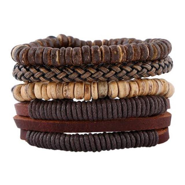 4pcs 1 Set Punk Genuine Wrap Leather Bracelets Men For Women