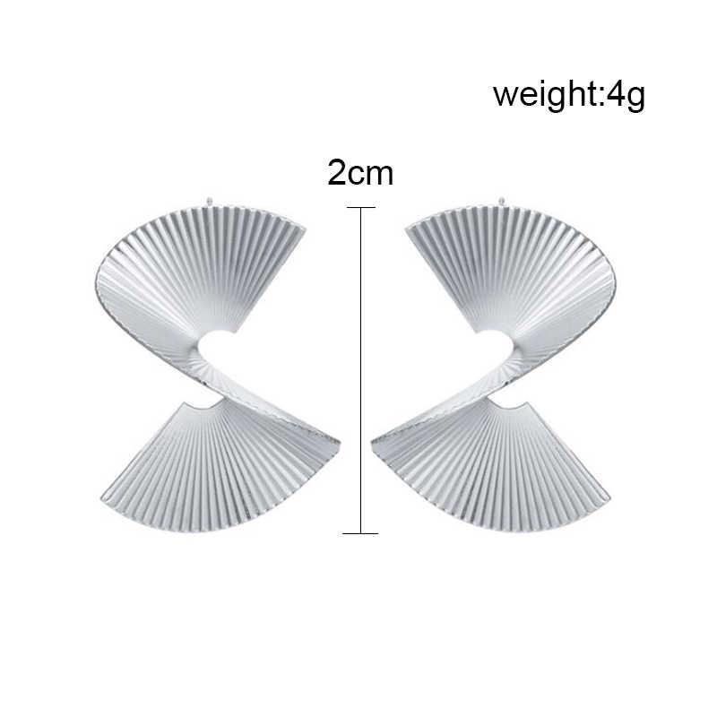ES2165 Retro Brincos Moda Personalidade Irregular Geométrica S-tipo Fan-shaped Liga Brincos Para As Mulheres Acessórios de Jóias