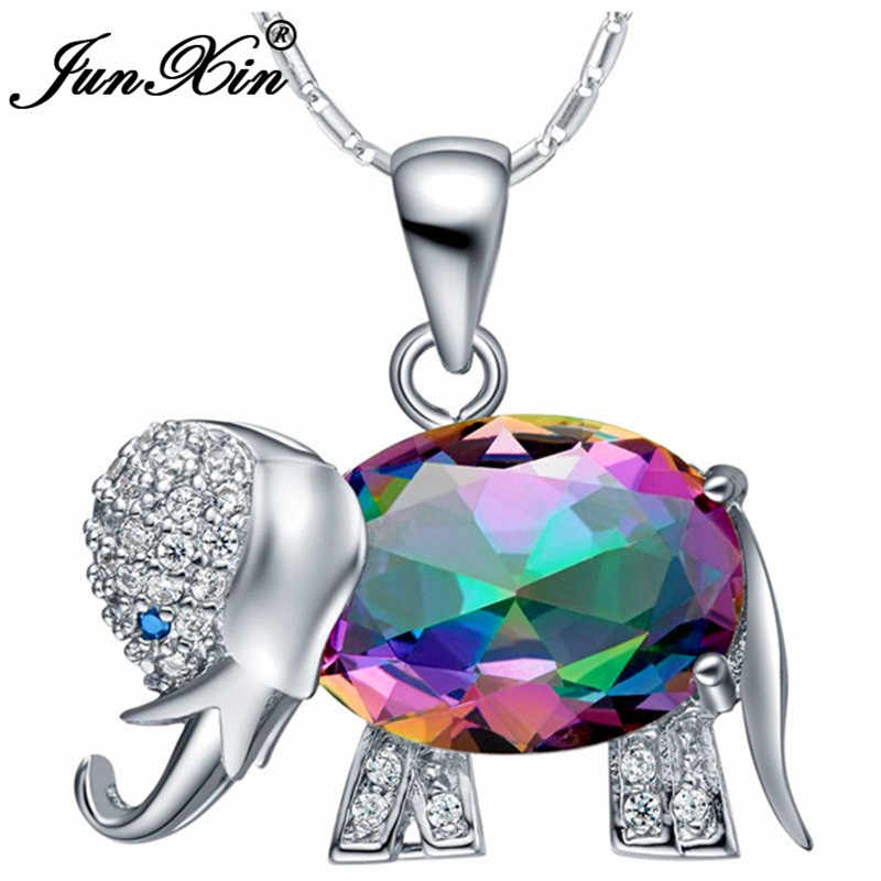 edba88110e Detail Feedback Questions about JUNXIN Women Rainbow Elephant Necklace New  Fashion Wedding Animal Jewelry 925 Sterling Silver Filled Necklaces Pendants  ...
