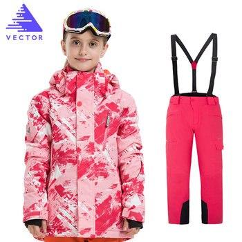 Girls Ski Suit Waterproof Kids Ski Jacket Ski Pants High Quality Winter Warm Clothing Outdoor Hooded Ski Suit -30 Degree