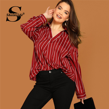 Sheinside Plus Size V Neck Striped Blouse Women Long Sleeve Top 2019 Spring Fashion Ladies Long Tops Burgundy Casual Blouses