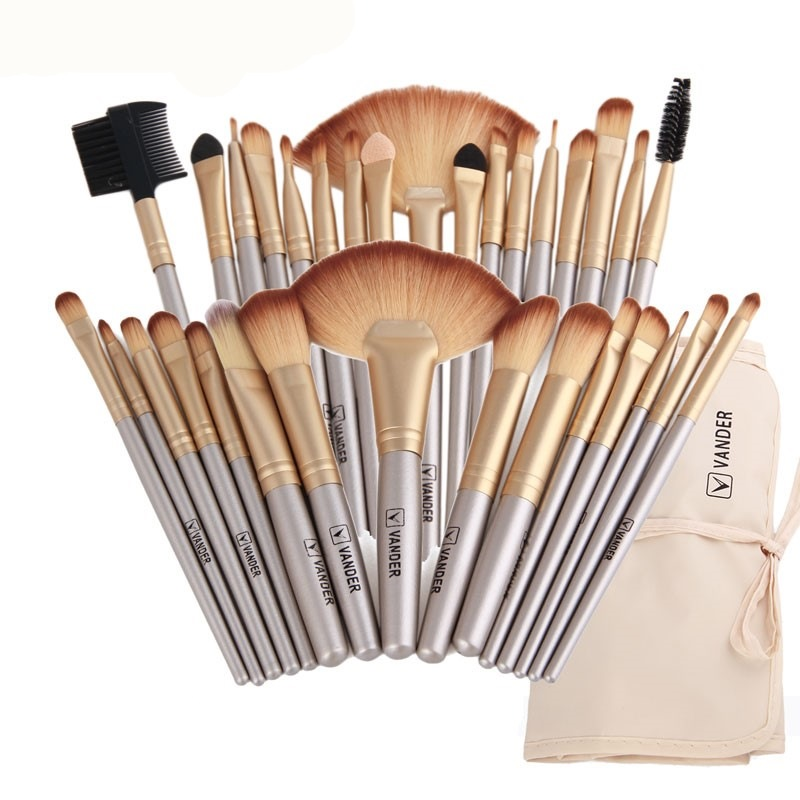 Vander 32Pcs Makeup borstar Set med väska Ögonskugga Eyebrow highlighter Pensel Kits Kosmetiska Foundation penslar pincel maquiagem