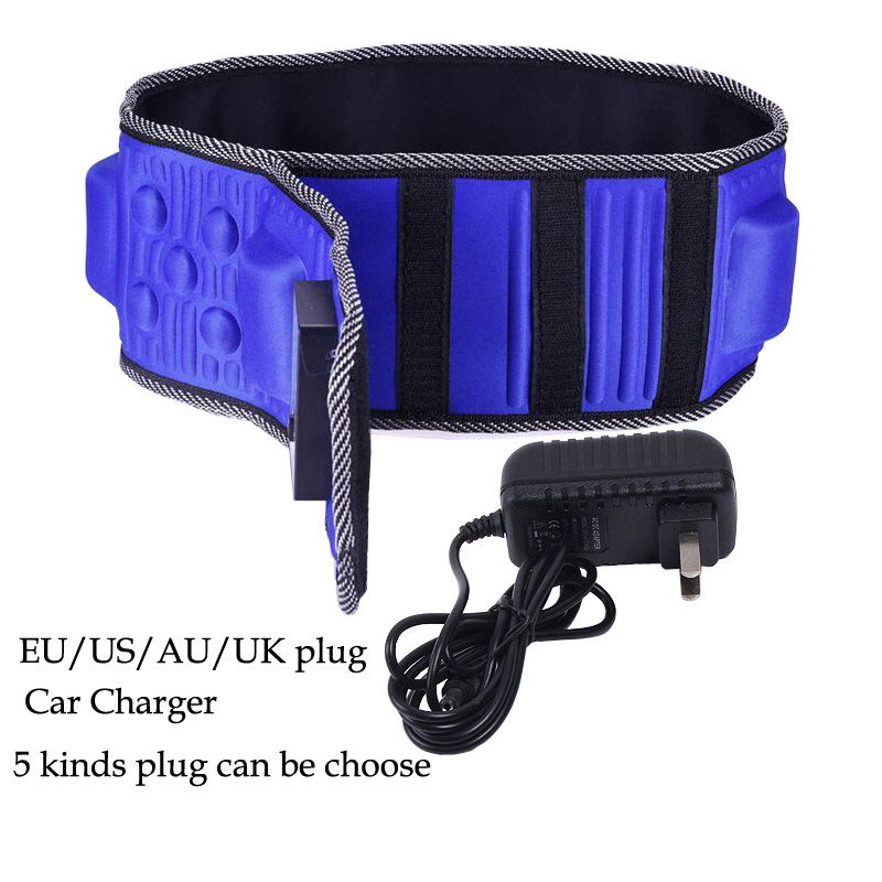 New EU US AU UK Plug Car Charger Vibration Massage Belt Infrared Ray Sauna Waist Slimming Belt Heating Fat Burning Massager купить