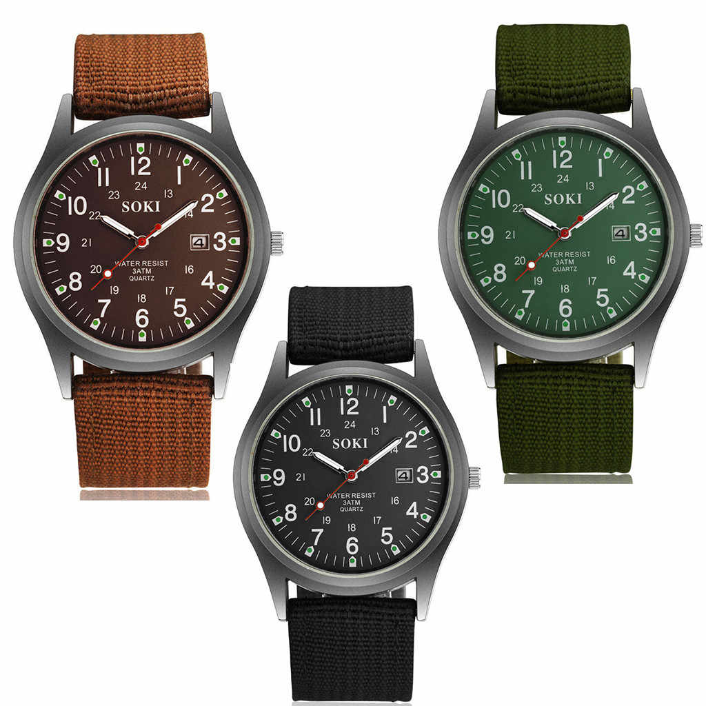 SOKI moda 2019 nuevo cinturón de nailon tejido reloj de calendario para hombre reloj de pulsera para fiesta decoración reloj de negocios gif para hombre b