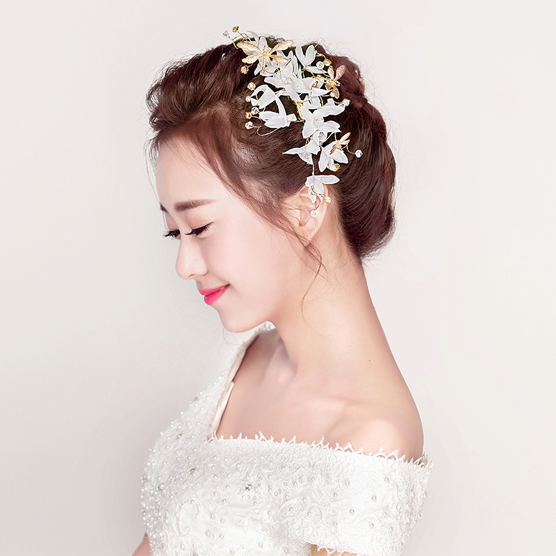 white yarn flower headbands gold