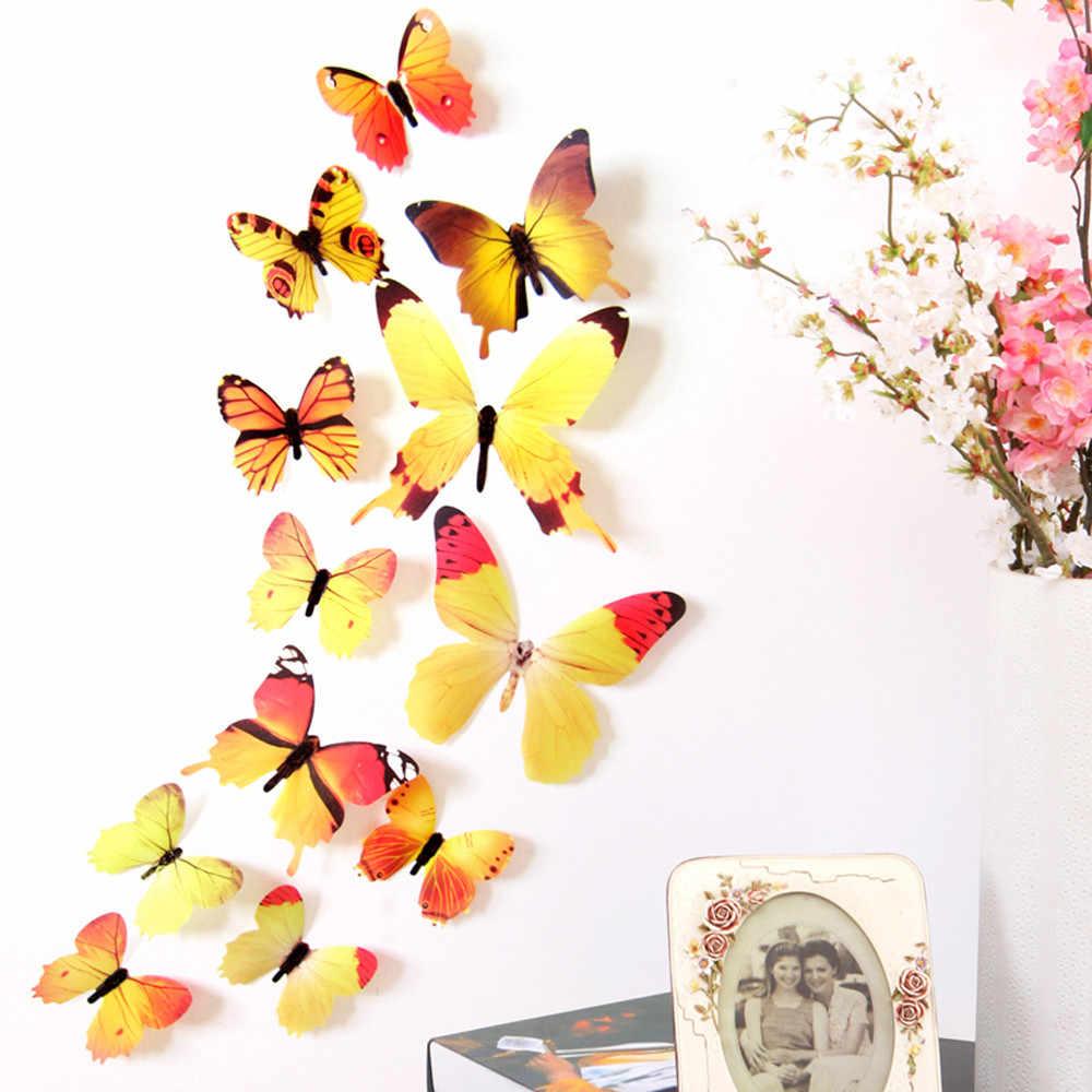 12 قطعة ملصقات جدار شارات ديكورات المنزل ثلاثية الأبعاد فراشة قوس قزح ملتصقة على معظم ملصقات جدار السلس والصلبة ملصقات جدار