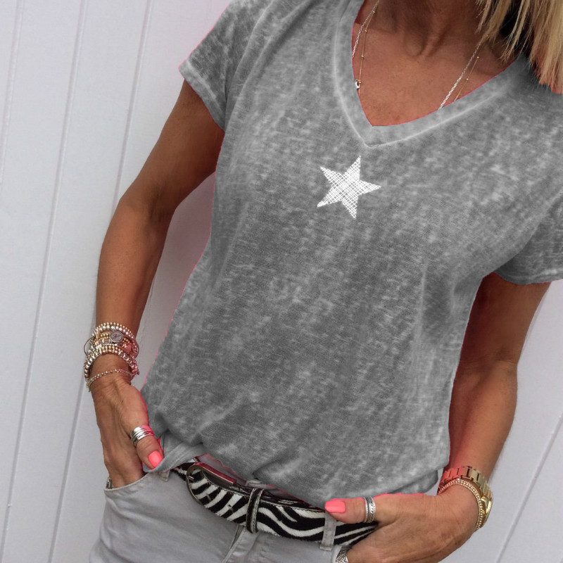 S-5XL Tee Top Women Summer Star Printed V Neck Short Sleeve Casual Slim Fit T Shirt Multicolor Plus Size