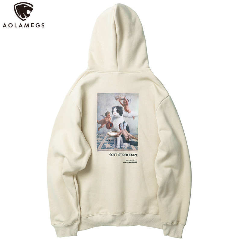 Aolamegs Hoodies Men Funny Cat Pictures Printed Hooded Thick Pullover Harajuku Simple Fleece Men High Street Casual Sweatshirt