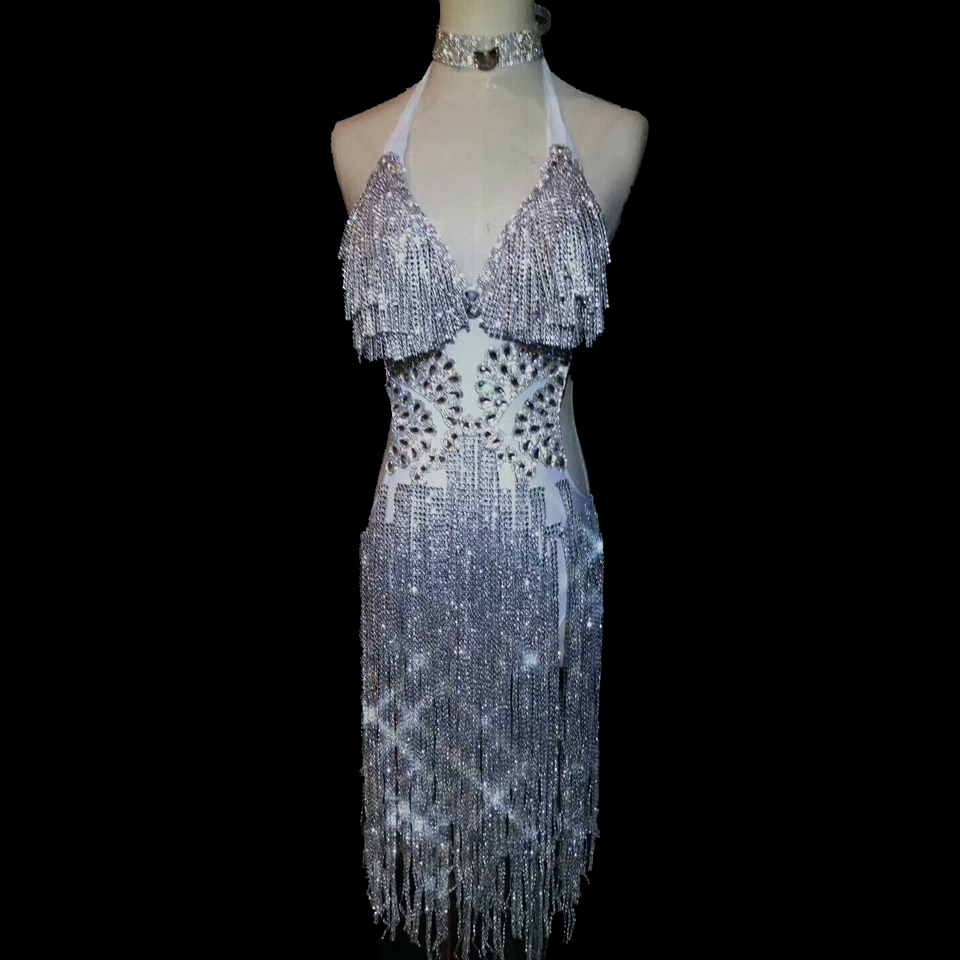 Sparkly Silver Rhinestones Dress Sexy Backless Tassels One Piece Bodysuit Prom Party Model Catwalk Singer Performance Dresses