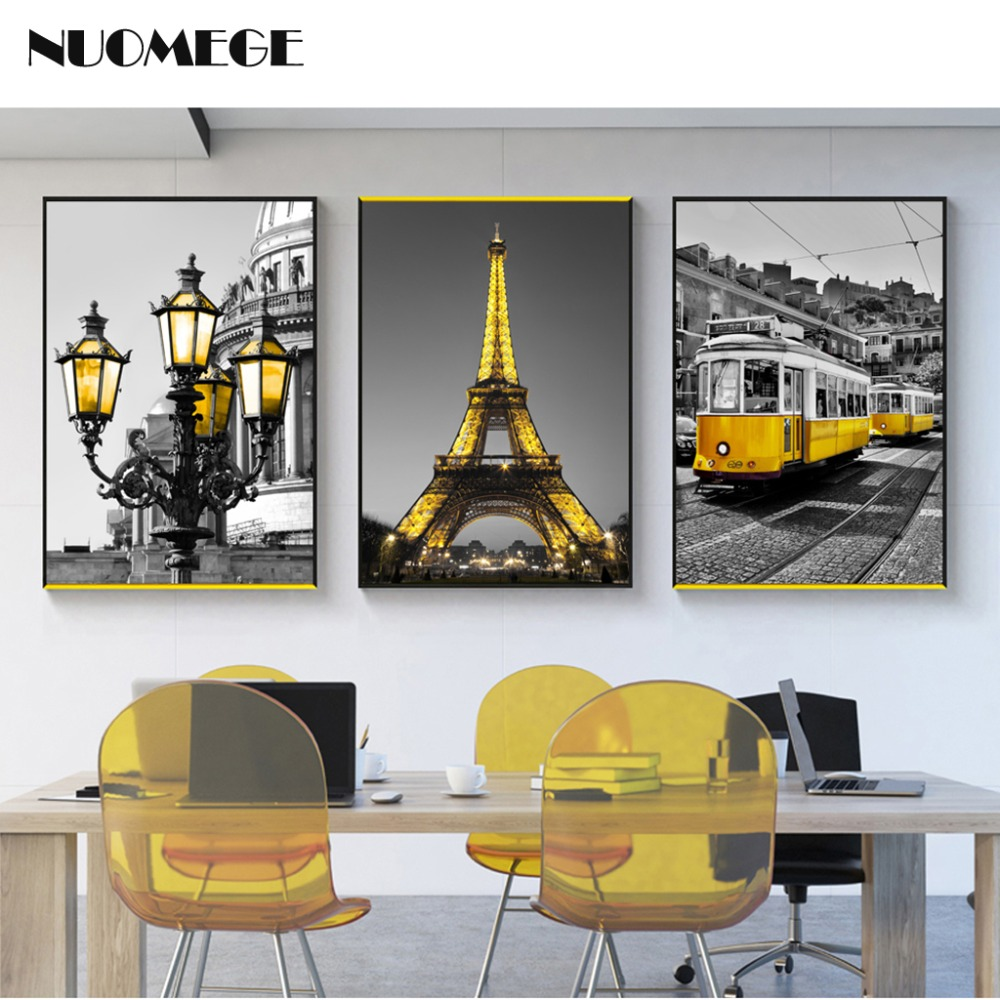 Nordic Landscape Canvas Painting Print Yellow Tower Streetlight Tram Wall Art Picture Triple Black And White Posters Home Decor