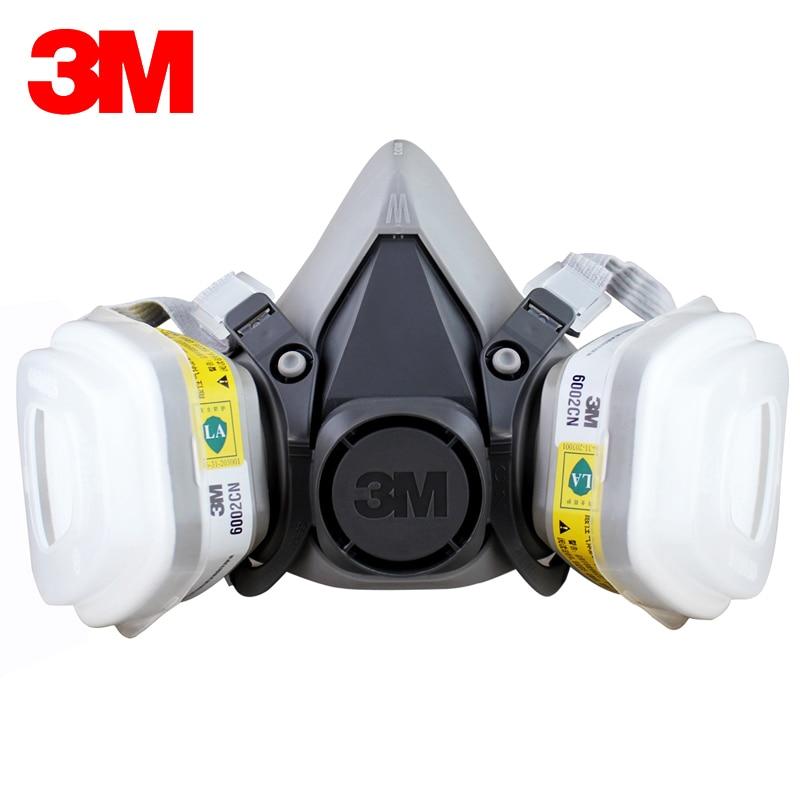 3M 6200+6002 Half Facepiece Reusable Respirator Respiratory Protection NIOSH Standard Gas Cartridges Acid Gas Mask F0000 3m 6700 6009 full facepiece reusable respirator filter protection mask respiratory mercury organic vapor