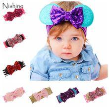 NISHINE Infant Girls Baby Sequin Bow Headwraps Baby Christmas Dot Bow Headband Children Kids Headwear Turban Girl Hair Accessory