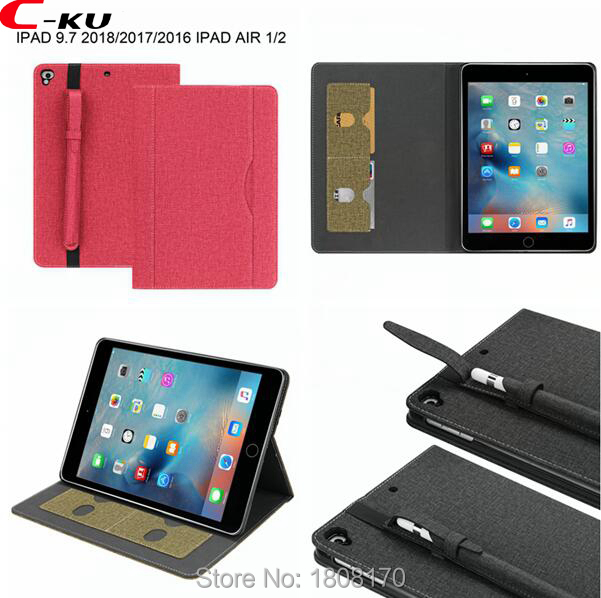 C-Ku Wallet Leather Case For Ipad 5 6 Air Air 2 For IPad Pro 9.7 For Ipad 9.7 2017 2018 Pencil Sleeve Card Slot Skin Cover 20pcs