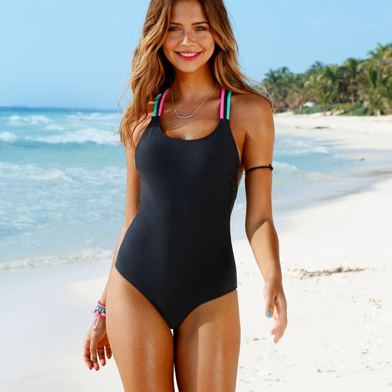Bathing Suit Women One Piece Swimsuit Solid Push Up Swimwear Large Size Thong Bikini Black Blue Maio Monokini Swimming Suit 2019-2