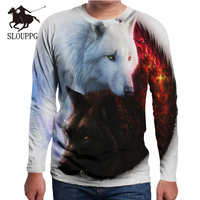 SLOUPPG special style loose fashion men's round neck long sleeved T shirt 3d wolf print shirt popular bottoming shirt