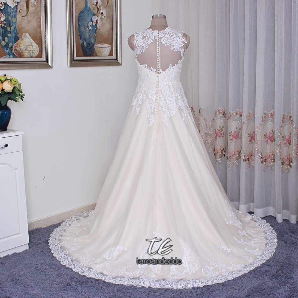 Ball Gowns Lace and Tulle Plus Size Wedding Dress 9WG3850 V neck Lace Applique Crystals Champagne Bridal Gowns with Color-in Wedding Dresses from ...
