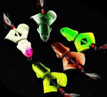 free shipping 10pcs/lot 7cm 12.5g plastic fishing lure frog lure black fish lure popper lure swimbait treble hook topwater