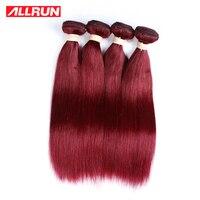ALLRUN Burgundy Brazilian Hair Weave Bundles 99j Straight Human Hair Extensions 1pcs Only Non Remy Hair