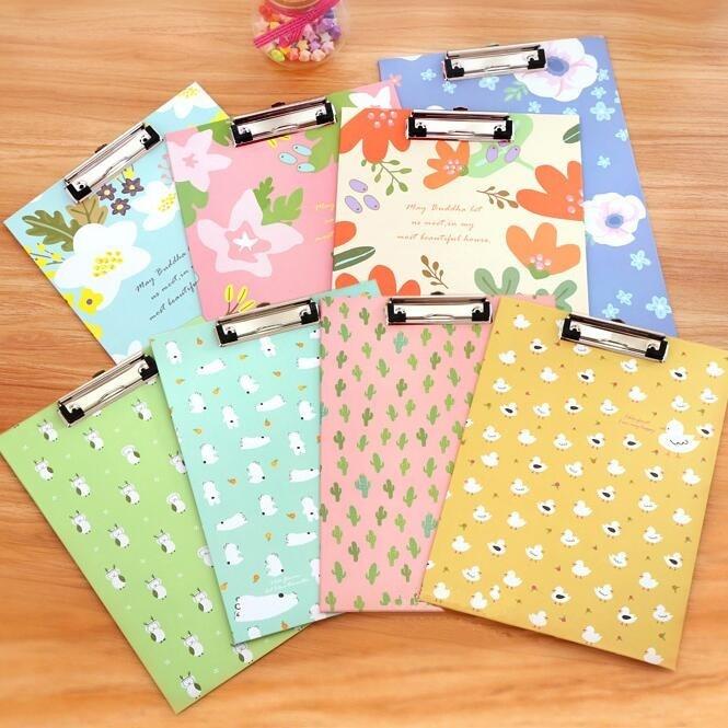 1PCS/Lot Cartoon Cat Bear Friends+Flower Series A4 Size Folder Board With Clip File Board Filing Products Supplies School