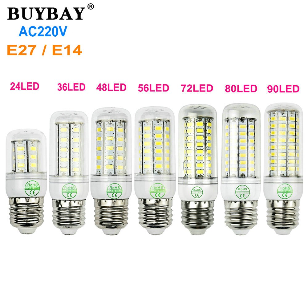 Super bright E27 LED corn bulb light E14 led lamp AC 220V  lamparas Warm white/Cool white 5730 SMD LED bombillas energy saving wa20p cd [ rack panel 4pin 2contacts rack and panel]