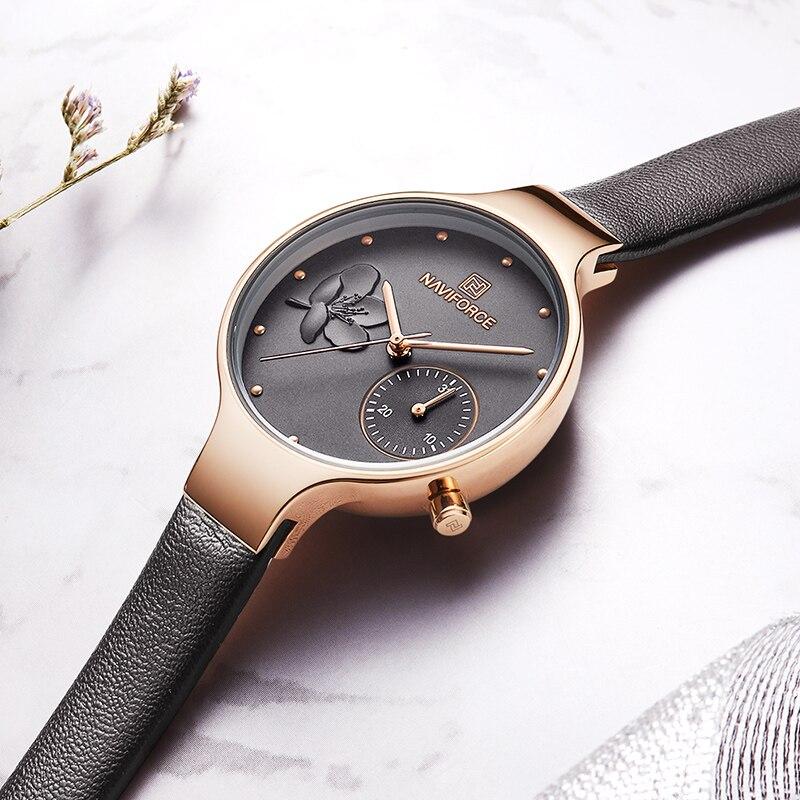 Image 3 - NAVIFORCE Women Watches Top Brand Luxury Fashion Female Quartz Wrist Watch Ladies Leather Waterproof Clock Girl Relogio Feminino-in Women's Watches from Watches