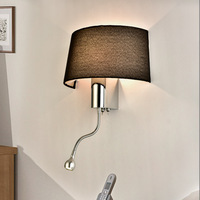 Black White Bedside Wall Lamps 1w Led Spot Lighting Plumbing Hose Rocker Arm Reading Wall Lighting