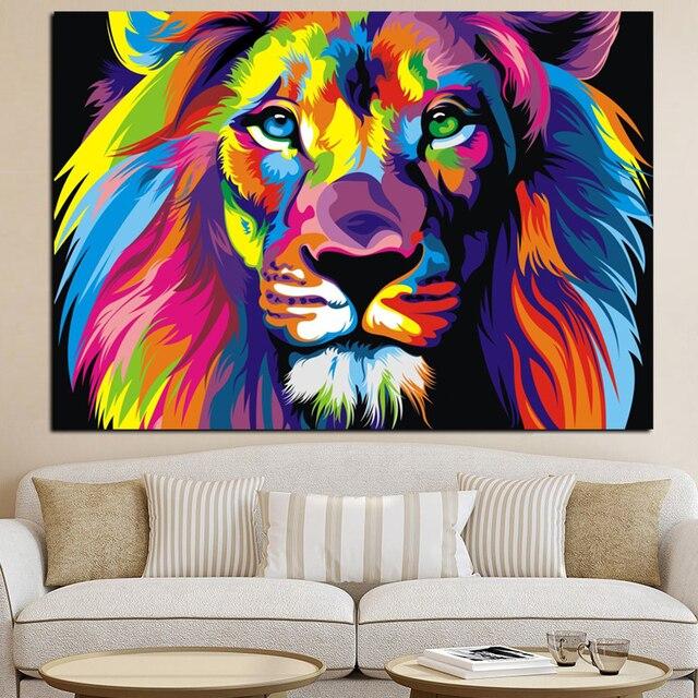 Top Pop Art HD Imprimer Coloré Lion Animaux Abstrait Peinture À L  JS59