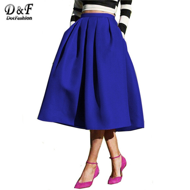 Dotfashion 2016 estilo de la calle de la moda femenina de las mujeres solid casual flare cintura alta plisado bolsillos vintage falda de midi