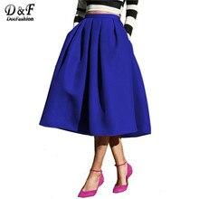 Dotfashion Женская Мода 2017 улица Стиль Для женщин Однотонная повседневная обувь Flare Высокая талия плиссированные карманы Винтаж юбка миди