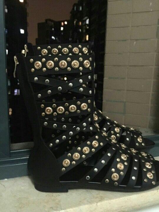 Sandales Genou Rivers Métal Appartements À Style Découpe Bottes Bout Real 2018 Ouvert Chaussures photo Stud Haute Rome Femme D'été Gladiateur Combat Real Photo Or qf5En7wZ