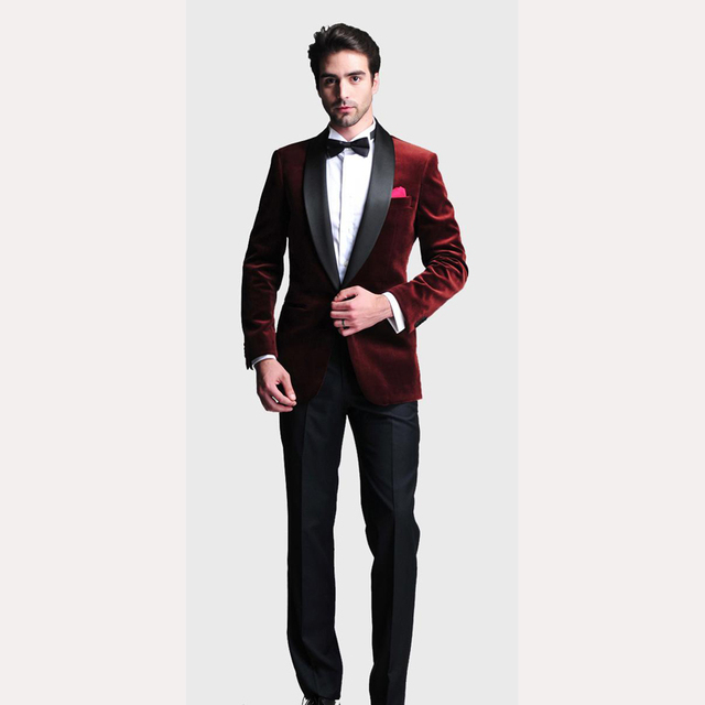 Burgundy Velvet Slim Fit 2018 Groom Tuxedos Wedding Suits Custom Made Groomsmen Best Man Prom