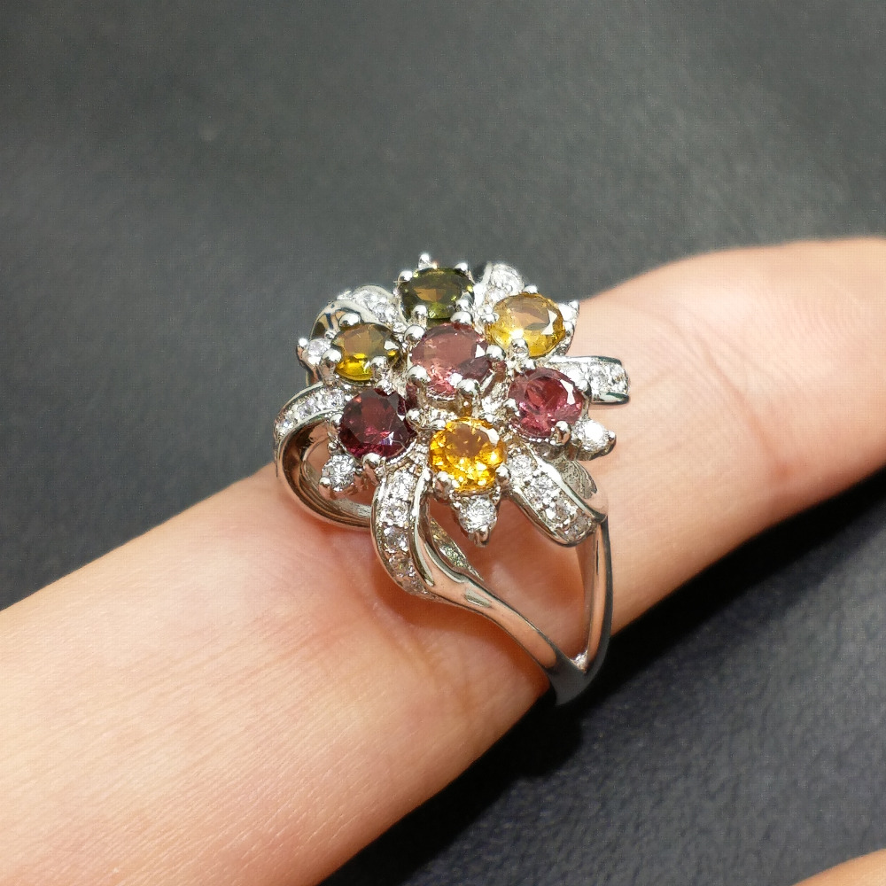 FLZB 2018 New design jewery ring 100 natural colorful tourmaline in 925 sterling silver big charming