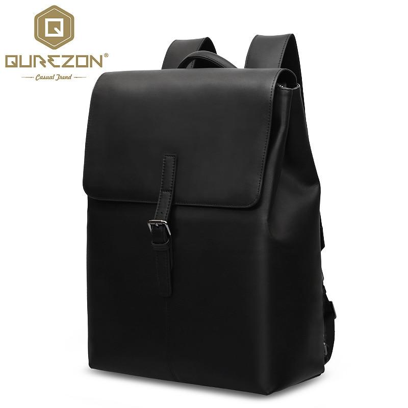 New 2016 High Class 100% Genuine Leather rucksack Big Black Backpack Men Travel backpack real Leather bag mochilas High Quality
