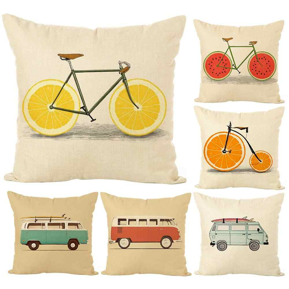 Fruit Bike/Bus Printed Cushion Cover Pillow Case Home Cafe Sofa Bed Car Decor Creative Home Decoration Pillowcases