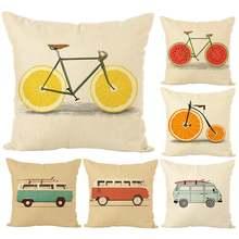 Чехол для подушки с фруктовым принтом велосипеда/автобуса домашний