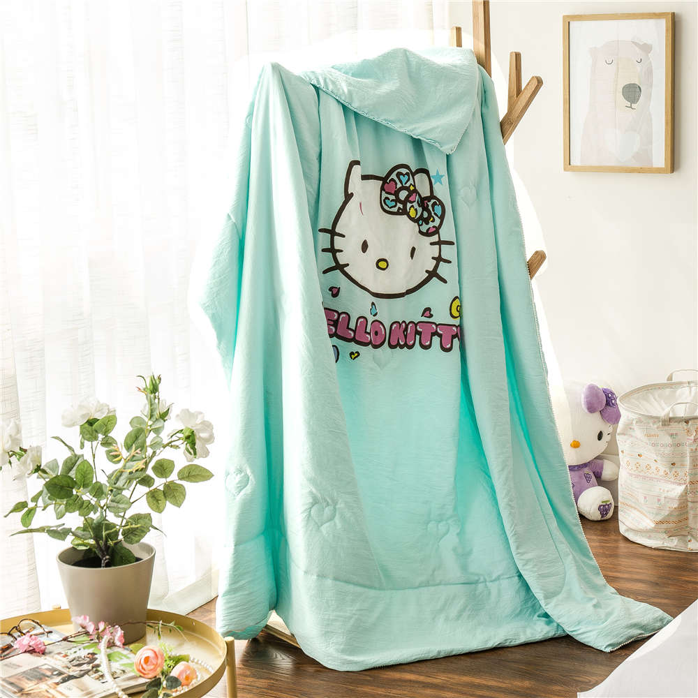 Baby bed quilt size - Hello Kitty Printed Summer Polyester Quilts Comforters Girl S Baby Bed Bedding Single Twin Full Queen Size