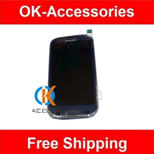 Blue White For Samsung i9300 4.7 inch LCD+Touch Screen Digitizer+Frame 1PC/Lot