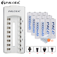 PALO 8 slots LED display smart AA AAA battery charger for AA/AAA nimh nicd battery+12pcs Ni MH AA rechargeable batteries 1.2V