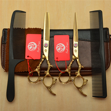 4Pcs Suit 6 Golden Professional Human Hair Scissors Hairdressing Shears Combs + Cutting Thinning Dragon Carving H9005