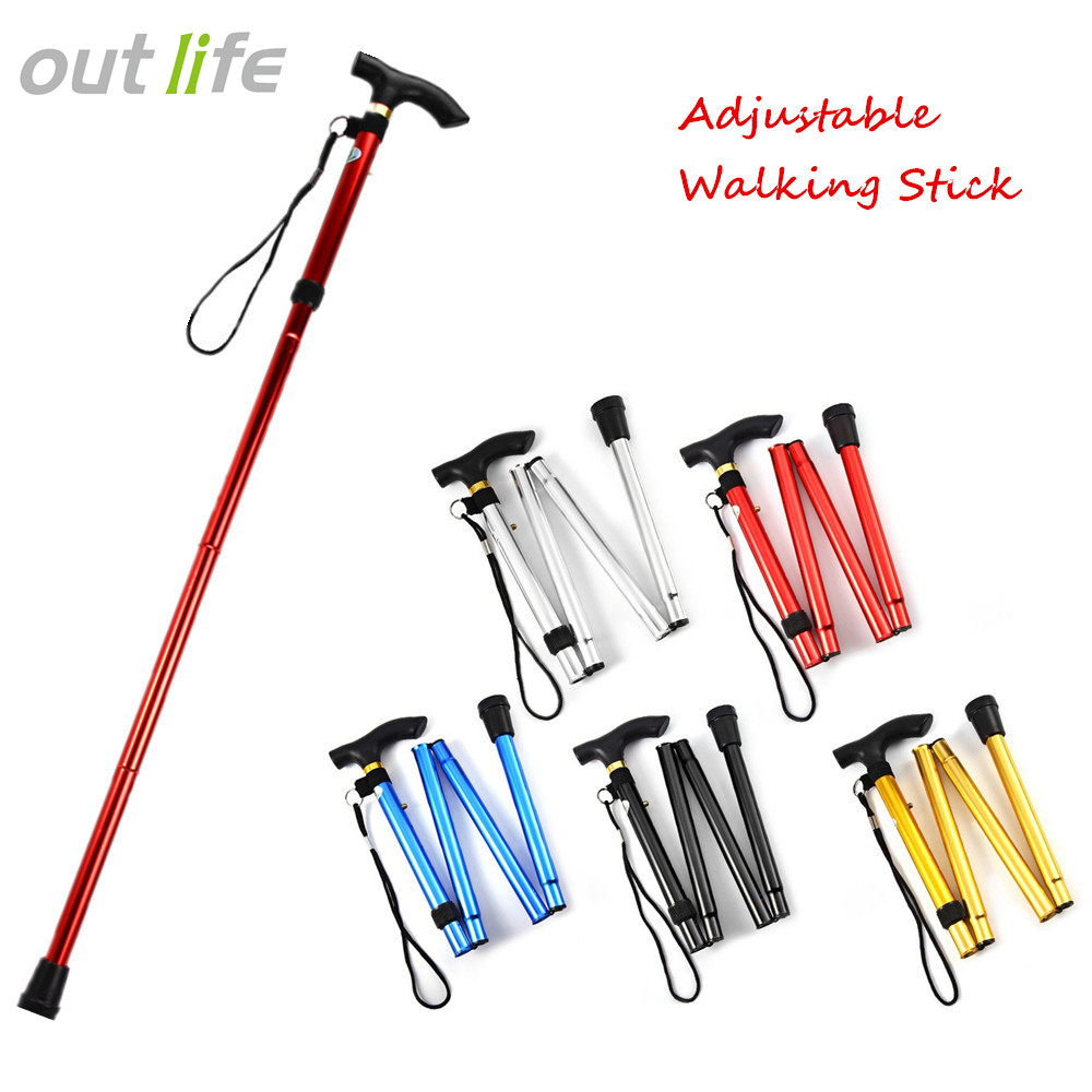 10 Pieces Strong Durable Aluminum Alloy Walking Stick Collars Gold//Silver
