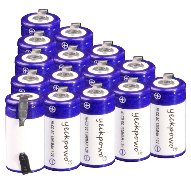 Yeckpowo 15 unids batería SC 1300 mAh 1.2 V NiCd subc destornillador taladro eléctrico baterías para Bosch Mikita dewalt Hitachi B & D