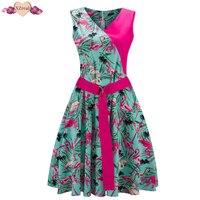 Pin Up Patchwork Dress Women Summer Sundress Vintage Rockabilly Evening Party Dresses Print Bodycon Swing Tunic